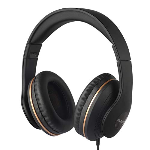 Active Noise Cancelling Headphones Wired, ANC Over Ear with Mic, Sound Cancelling Headphones Foldable Lightweight, Deep Bass Headset 20 Hours for Travel and Office TV Phone - Black from FMLOVES ()