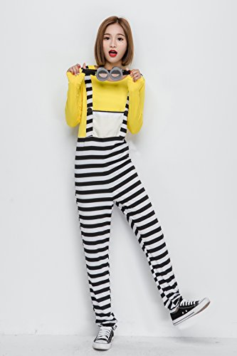 Minion Halloween costume prisoner minion costumes with goggles adult for minion's female thief escape fancy dress costume one size fits most Halloween events - Fancy Goggles