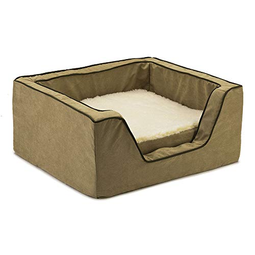 Snoozer Pet Products - Luxury Square Dog Bed with Memory Foam | Large - Peat/Coffee