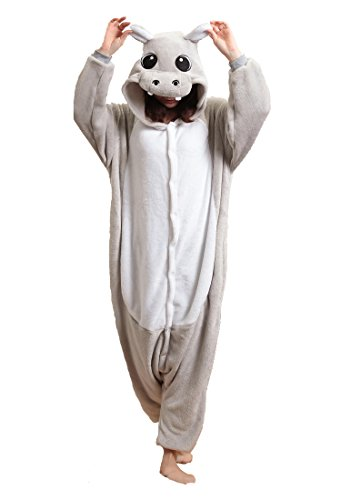 [FashionFits Unisex Flannel Jumpsuit Hippo Cartoon Sleepsuit Pyjama Costume S] (Hippo Costume Uk)