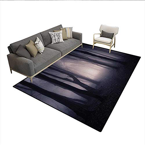 Carpet,Path Through Dark Deep in Forest with Fog Halloween Creepy Twisted Branches Picture,Rug Kid Carpet,Pink Brownsize:6'6