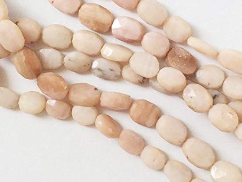 (GemAbyss Beads Gemstone 1 Strand Natural Peruvian Pink Opal Beads, Pink Opal Faceted Oval Nuggets 8 Inch 7-8 mm Code-MVG-17652)