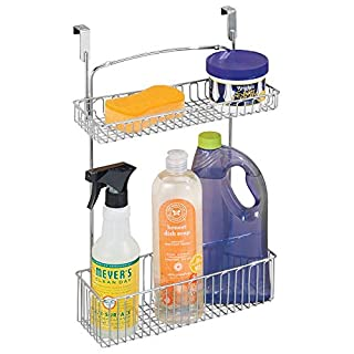 mDesign Metal Farmhouse Over Cabinet Kitchen Storage Organizer Holder or Basket - Hang Over Cabinet Doors in Kitchen/Pantry - Holds Dish Soap, Window Cleaner, Sponges - Chrome