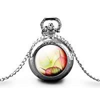 "Necklace pocket watch""autumn leaves"", woman christmas present - woman birthday - valentine's day - silver (ref.61a)"