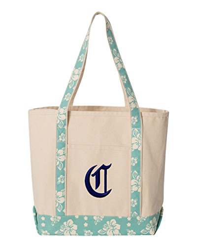Letter C Personalized Embroidery Embroidered Tote Bags