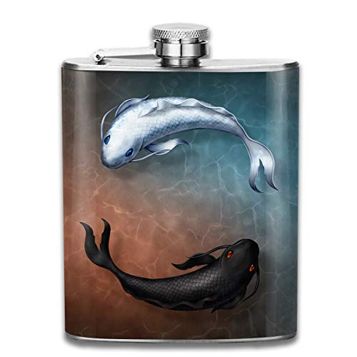 (Laki-co Yin-Yang Fish Hip Flask for Liquor Stainless Steel Bottle Alcohol)