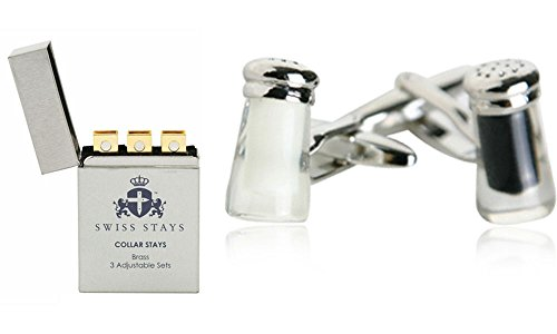 Salt & Pepper Cufflinks with 3 Pairs Adjustable Brass Collar Stays