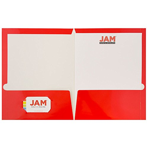 JAM Paper Laminated Glossy 2 Pocket School Folders - Red - 100/pack by JAM Paper (Image #2)