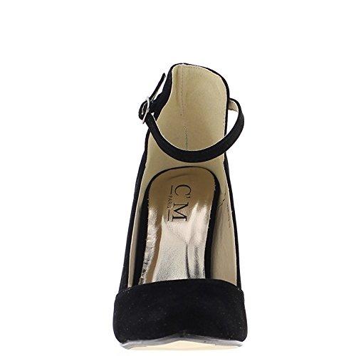 ChaussMoi Tacones de Gamuza Negro 10.5 cm Aspecto del Reborde