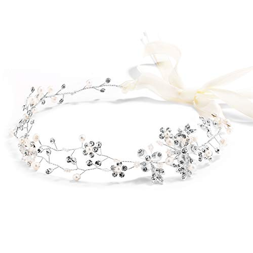 Austrian Genuine Pin Crystal - Mariell Freshwater Pearl Crystal Wedding Headband Hair Vine with Ribbons