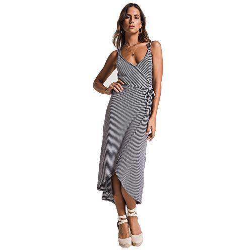 Z Supply Clothing Women's Capri Wrap Dress, Black Iris/White, Small