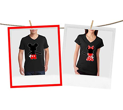 Mickey Mouse and Minnie Mouse Best Match Couple V-Neck Shirts Black Large V Neck T-Shirts by Natural Underwear