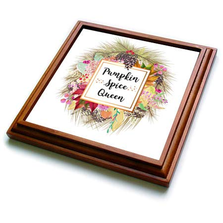 3dRose InspirationzStore - Occasions - Pumpkin Spice Queen - Autumn Leaves Wreath Fun Fall humor for women - 8x8 Trivet with 6x6 ceramic tile (trv_317299_1)