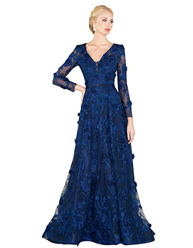 Mac Duggal Couture V-Neckline Embellished Navy Gown
