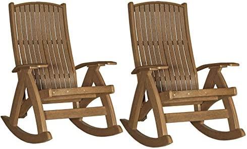 LuxCraft Poly Set of Two Comfort Rocker, Recycled Plastic Outdoor Rocking Chair, Antique Mahogany
