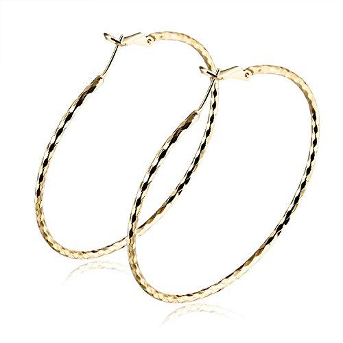 Moniya Hypoallergenic 18k Gold Plated Diamond-Cut Hoop Earrings Set For Women Girls 40mm-70mm Diameter (10k Gold Tone Earrings)