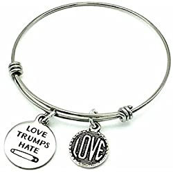 Love Trumps Hate Safety Pin, Stainless Steel Bangle Bracelet