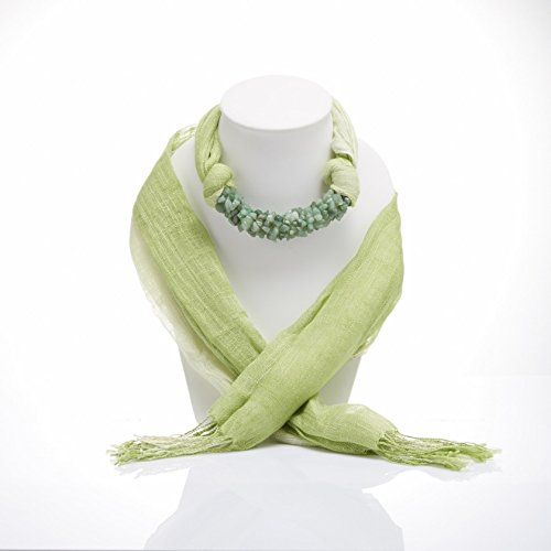 Light Green Two Tone Scarf Necklace Decorations With Green Jade (Duo Costume Ideas)
