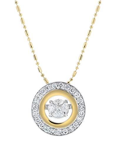 Olivia Paris Dancing Diamond Necklace Set in 14k Two Tone Gold 3/4 Carats ctw (H-I, I1), 18