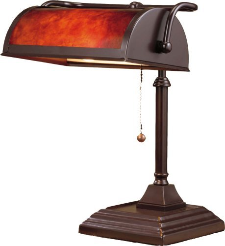 Normande Lighting BL1-103 60-Watt Banker's Lamp with Mica Shade