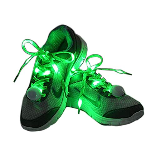 Flammi LED Nylon Shoelaces Light Up Shoe Laces with 3 Modes Disco Flash Lighting The Night for Party Hip-hop Dancing Cycling Hiking Skating Type C (Green)]()
