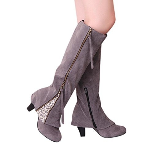Elevin(TM)2017Women Fashion Wedge Buckle Biker Ankle Trim High-Heeled Zip Lace Ankle Boots Shoes Grey Size: 7US