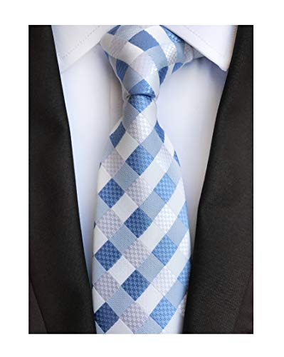 (Mens Blue White Plaid Jacquard Woven Tie Texture Microfiber Italian Silk Necktie)