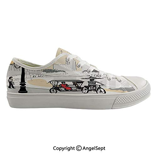Durable Anti-Slip Sole Washable Canvas Shoes 16.92inch Sketch Singapore City Silhouette with Local People Asian Town Illustration,Light Grey Cream Red Flexible and Soft Nice Gift (Best Shoes For Flat Footed Person)