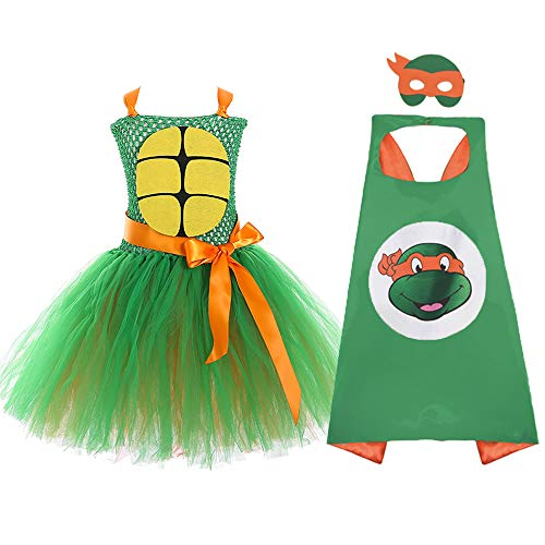 Teenage Mutant Ninja Turtles Role Play Costume for Girls Small Orange]()