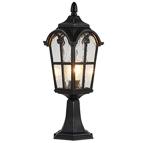 LONEDRUID Traditional Outdoor Post Lights Black Modern Pillar Lamp Waterproof Column Light Fixtures, UL Listed (Outdoor Lighting Pillars)