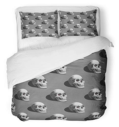 Emvency 3 Piece Duvet Cover Set Breathable Brushed Microfiber Fabric Colorful Black Halloween Pattern with Skulls on Dark Grey Bone Creepy Darkness Death Bedding Set with 2 Pillow Covers Twin Size