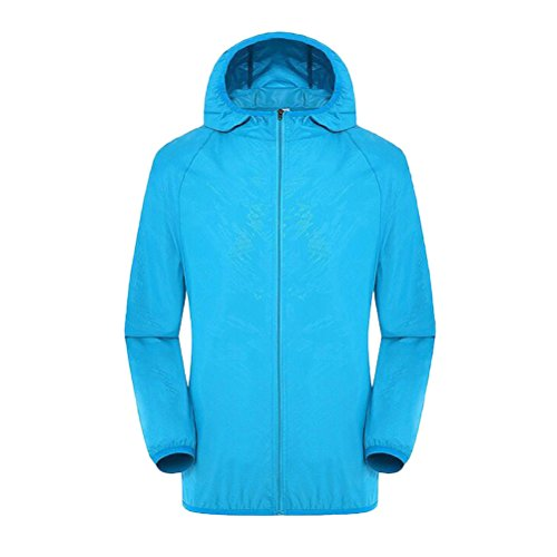 Zhhlinyuan Fashion High Quality Unisex Breathable Ultralight Cycling Running Jacket Windproof Waterproof Sky Blue