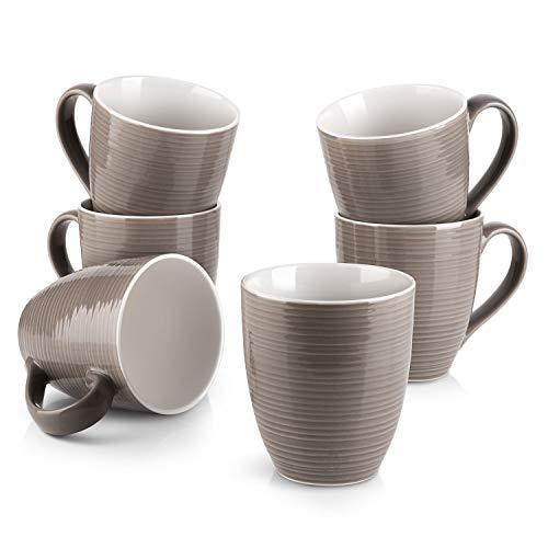 DOWAN Coffee Mugs, 17 Oz Coffee Mug Set of 6, Corrugated Tea Mugs, Brown