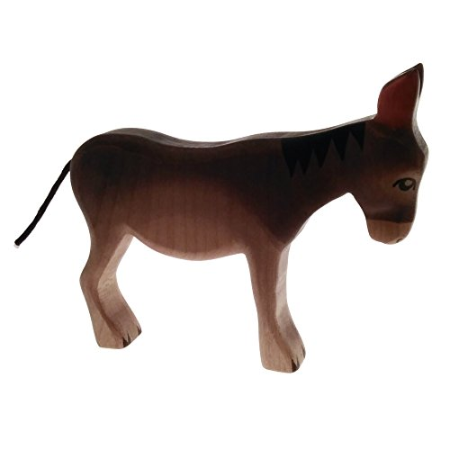 HandWoody Wooden Animal Donkey Handmade Handpainted Wood Figure - Home Decor - Collectible Figurine - Natural Toy - Souvenir