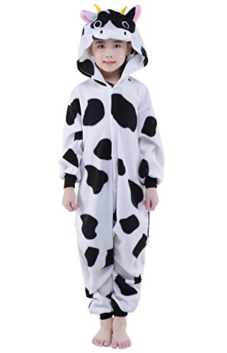 [Newcosplay Homewear Childrens Cow Pajamas Sleeping Wear Animal Onesies Cosplay Costume (95#)] (Kids Cow Nose)