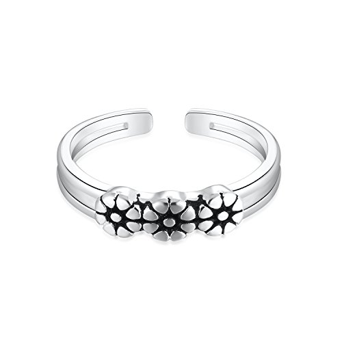 925 Sterling Silver Plumeria Flower Open Cuff Toe Ring Band Adjustable For Women Girls Size 2-4