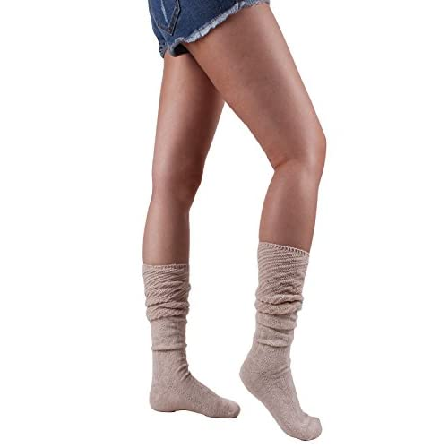 10STAR11 Women's Fashionable Fall Winter Cotton Colorful Lightweight Slouch Knee High Socks