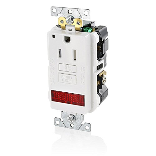 Leviton GFPL1-PLW 15A-125V Extra-Heavy Duty Industrial Grade Pilot Light Tamper-Resistant Self-Test GFCI Receptacle, White, (Leviton White 15a Tamper)