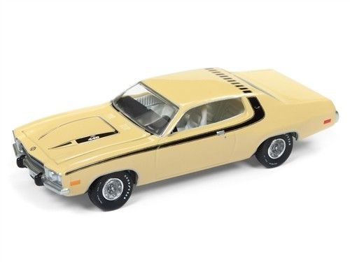 Roadrunner Car - New 1:64 AUTO WORLD PREMIUM 2017 COLLECTION - 1974 Plymouth Road Runner (Yellow) Diecast Model Car By Auto World