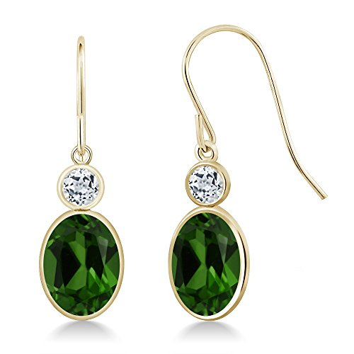 - Gem Stone King 2.68 Ct Oval Green Chrome Diopside White Topaz 14K Yellow Gold Earrings