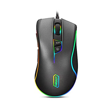 HIRALIY F300 Gaming Mouse Wired RGB Backlit 9 Programmable Buttons 5000 DPI Optical Sensor PMW3325 (Upgraded - Optical Sensor
