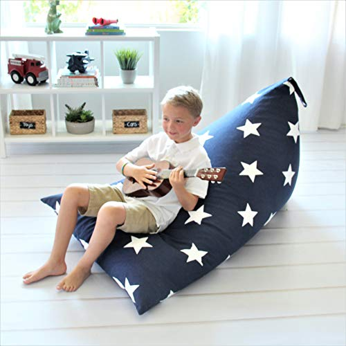 Butterfly Craze Stuffed Animal Storage Bean Bag Chair - Stuff n Sit Toy Bag Floor Lounger for Kids, Teens and Adult |Extra Large 200L/52 Gal Capacity |Premium Cotton Canvas (Navy)