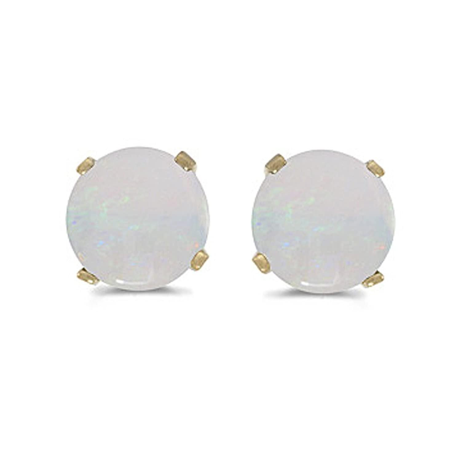 studs prong stud opal com mm amazon natural genuine gold in set dp earring yellow jewelry
