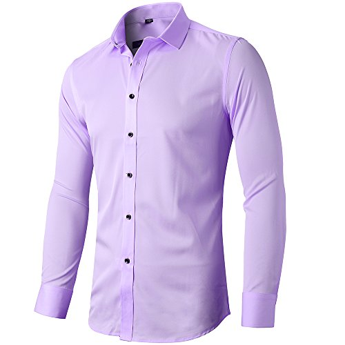 Mens Fiber Casual Button Up Slim Fit Collared Formal Shirts, Violet Button Down Shirt,Violet,16.5'Neck 35'Sleeve
