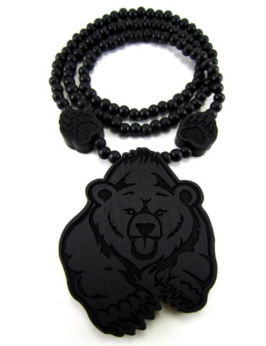 Bear Face Pendant - Large Wooden Bear w/ Paws Black Good Quality Wood Pendant & Chain