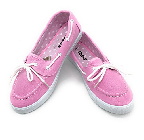 (Blue Berry EASY21 Canvas Lace Up Flat Slip On Boat Comfy Round Toe Sneaker Tennis Shoe,Pink,Size)