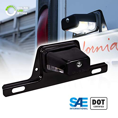 LED Trailer License Plate Lights w/Bracket [SAE/DOT Certified] [Waterproof] [Heavy Duty] License Tag Lights for Trailers, RV, Trucks & Boats - Black ()