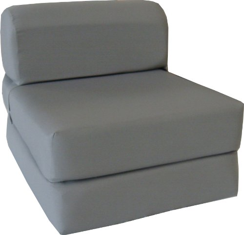 D D Futon Furniture Gray Sleeper Chair Folding Foam Bed Sized 6 X 32 X 70, Studio Guest Foldable Chair Beds, Foam Sofa, Couch, High Density Foam 1.8 Pounds