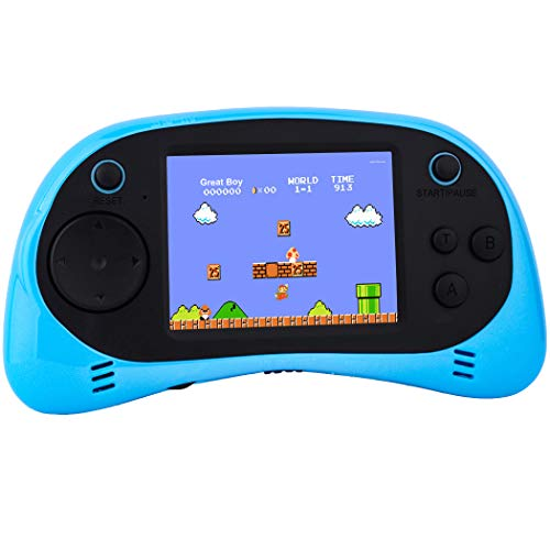 "Kids Handheld Video Games Plug and Play TV Electronic Game Console Classic Arcade System Funny Gift for Children Adult Seniors Built in 260 Retro Games 2.5"" Display Rechargeable Battery (Blue)"