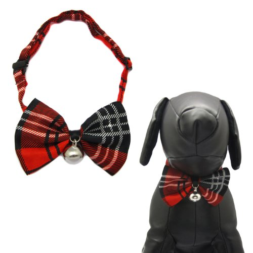 Alfie Pet by Petoga Couture - Qun Formal Dog Bow Tie and Adjustable Collar with Bell - Pattern: Red Plaid, Size: 7.5